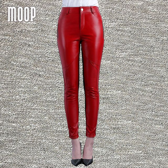Black red genuine leather pants plus size lambskin spliced stretch pencil pants trousers pantalon femme pantalones mujer LT814