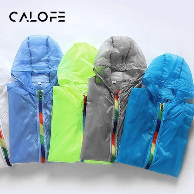 CALOFE 2018 New Quick Dry Sport Running Jacket Men Hooded Sports Jackets Outdoor Portable Waterproof Jogging Coat Plus Size XXXL