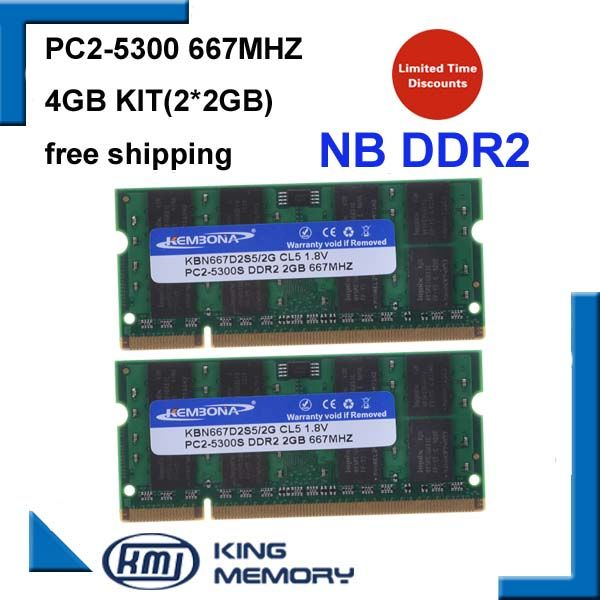 KEMBONA brand new 4GB 2x2GB PC2-5300S DDR2-667 667Mhz 2gb 200pin DDR2 Laptop Memory pc2 5300 667 Notebook Module  Free Shipping
