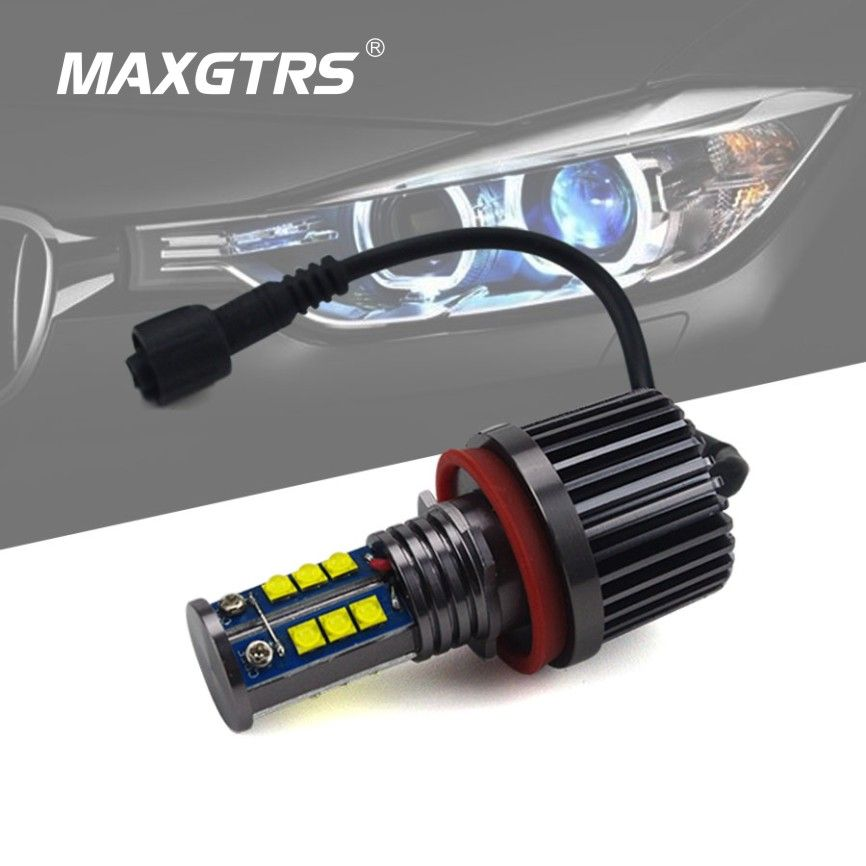 2x 72W 144W H8 LED Marker Car Angel Eyes Kit Halo Rings Bulb Light 6000K White for BMW E90 E92 M3 E60 E71 X6 E82