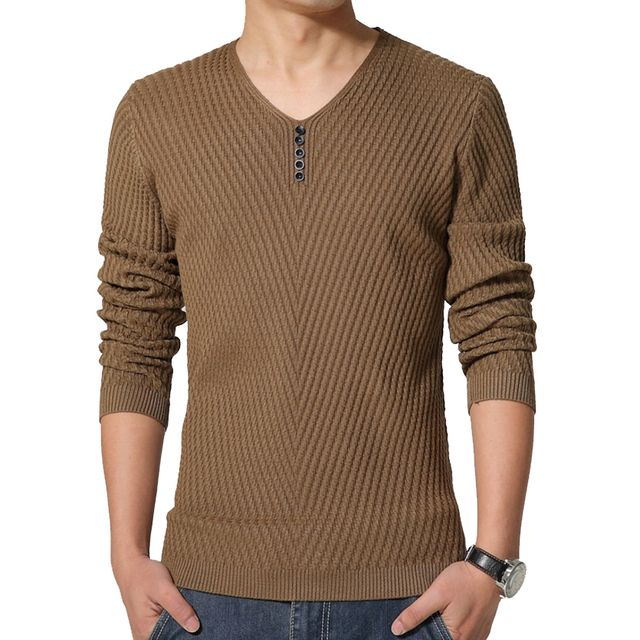 Hot Sale New Fashion Autumn Men Pullover Mens Solid Color V-Neck Decorative Buttons Knit Sweater Mens Sweaters And Pullovers