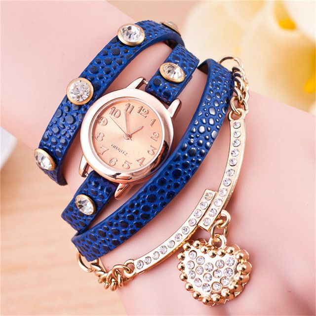 Women Dress Watches rhinestone Watches Vintage Leather Fashion Quartz Retro Sports Vintage Butterfly Beads WristWatches W219
