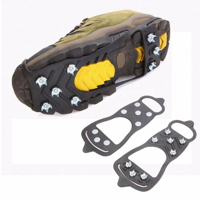 1 Pair Professional Climbing Ice Crampon 8 Studs Anti-skid Ice Snow Winter Camping Walking Shoes Spike Grip Outdoor Equipment