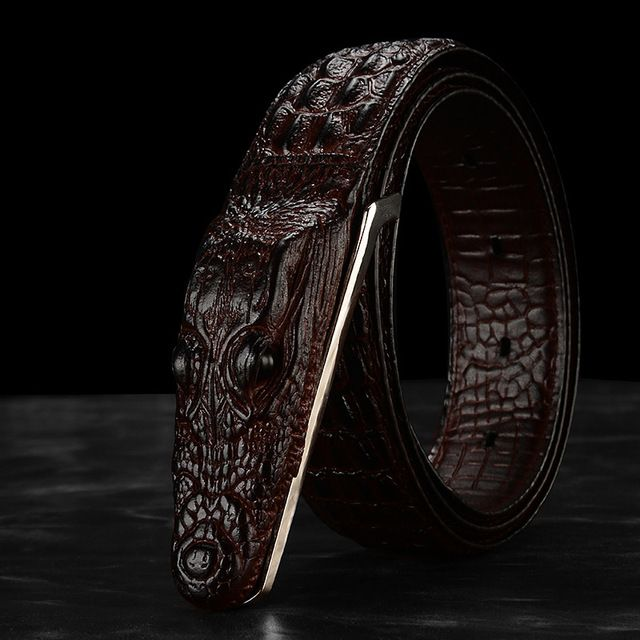 Men's new high-end designer crocodile grain luxury brand leather leather belts, crocodile head smooth buckle famous BOSS belt 40