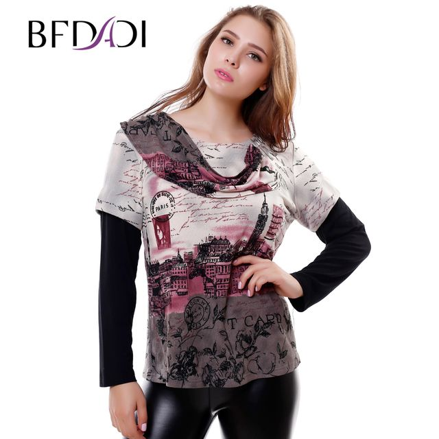 Hot 2016 Autumn Winter fashion British style Women t-shirt Casual Alphabet houses printing Splice sleeves Tops Plus size 6238