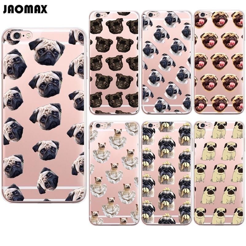 Jaomax Cute Cartoon Dog Animal Pug Puppy Case For iPhone X 6 6S Plus Xs Xr 5S SE 7 8 Plus Transparent Silicone Phone Back Cover