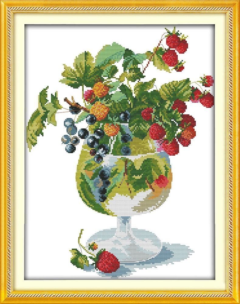 Strawberry and Wine Glass Counted Cross Stitch DMC Cotton Cross Stitch Sets Handmade Cross Stitch Kits Embroidery Needlework