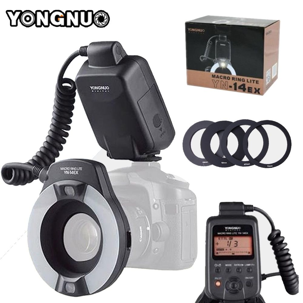 YONGNUO YN-14EX YN14ex With Adapter Ring TTL LED Macro Ring Flash Speedlite For Canon 5Ds 5Dsr 760D 5D Mark III 70D 700D 650D