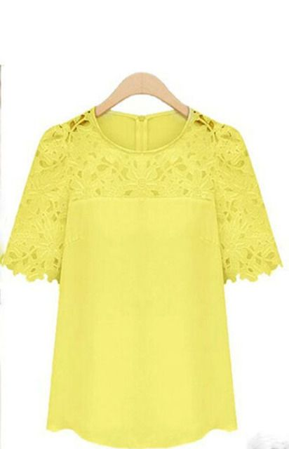 Lace Chiffon Women Blouse Blusas Hollow Out Moda Ladies Shirt Round Neck Short Sleeve Solid Clothing Female Tops Shirt RY0329