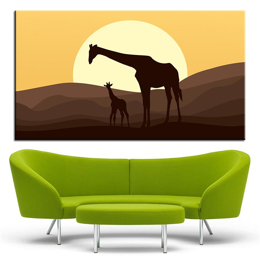 Large size Printing Oil Painting mother and baby giraffe Wall painting Decor Wall Art Picture For Living Room painting No Frame