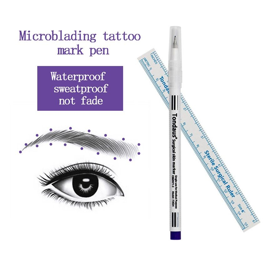 Microblading Surgical Skin Marker Eyebrow Marker Pen With Measure Measuring Ruler Tattoo Skin Scribe Tool Disposable Marker Pen