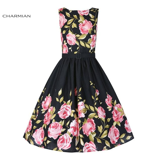 Charmian 1950's  Hepburn Style High-waisted  Bateau Neckline Rockabilly Rose Floral Pattern Swing Dress