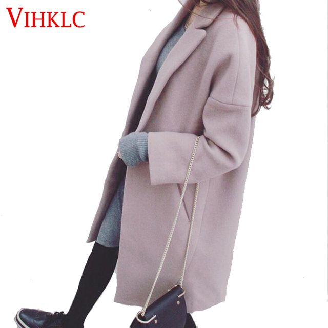 Korean Woman Coat 2016 Witer Fashion Long Casaco Feminino Long sleeve High quality Wool Coat Loose Thick Warm Woolen Coat Women