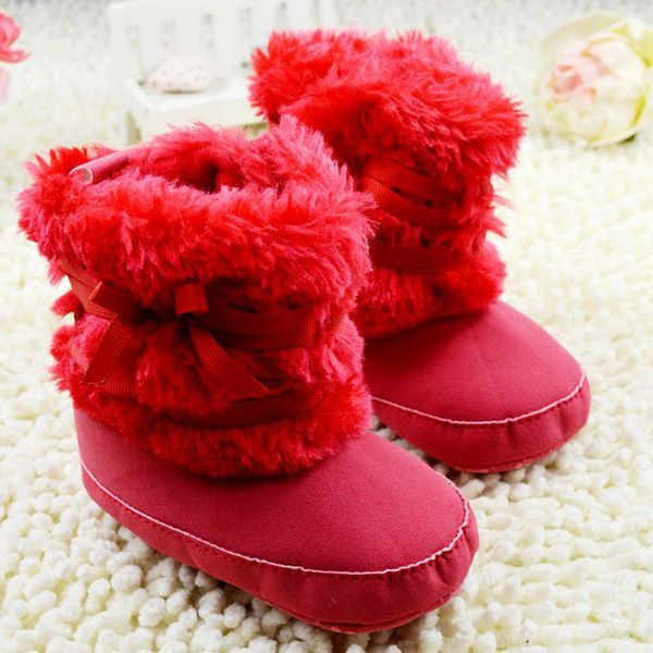 Winter Baby Girl Ribbon Bow Crib Shoes Toddler Fleece Boots Thick Snow Boots