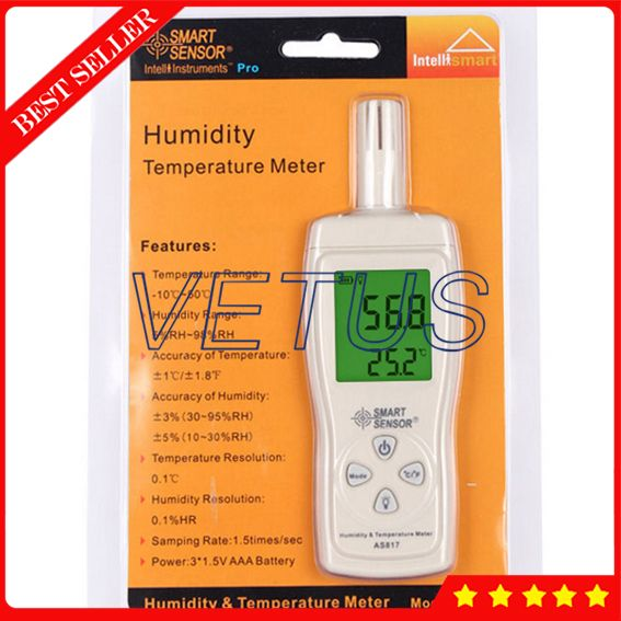 AS817 Digital Humidity machine with digital hygrometer humidity meter Thermocouple humidity gauge temperature tester -10-50C
