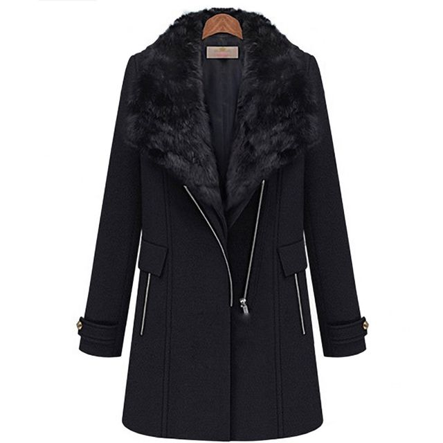 2pcs set women Long winter wool coat + Fur collar  Vest