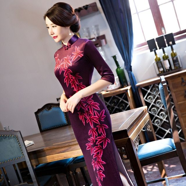 2018 chinese traditional dress fashion design long cheongsam long sleeves evening dresses gambiered Canton gauze cloth qipao