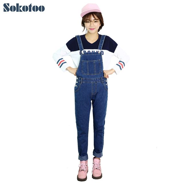 Sokotoo Women's casual pocket denim overalls Lady's fashion suspenders jumpsuits Full length jeans