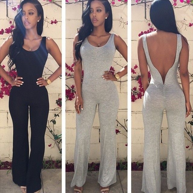 rompers womens jumpsuit 2017 summer new arrival fashion casual combinaison femme solid O-Neck backless bodysuit sexy jumpsuits