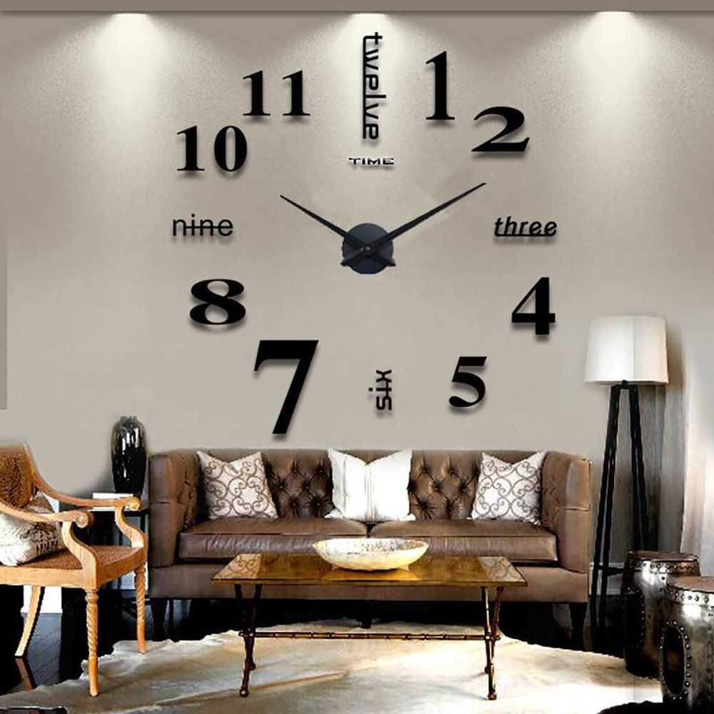 Decorative 3D Wall Clocks Mechanism Clock Large Modern Design DIY  Digital  Relogio  Mirror Stickers Clock