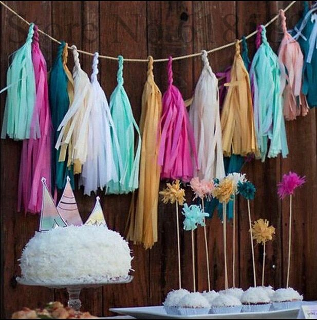 50pcs=10packs Event Party Supplies Birthday 14inch (35cm) Tissue Paper Party Paper Tassel Festival Tissue Paper Tassel Garland