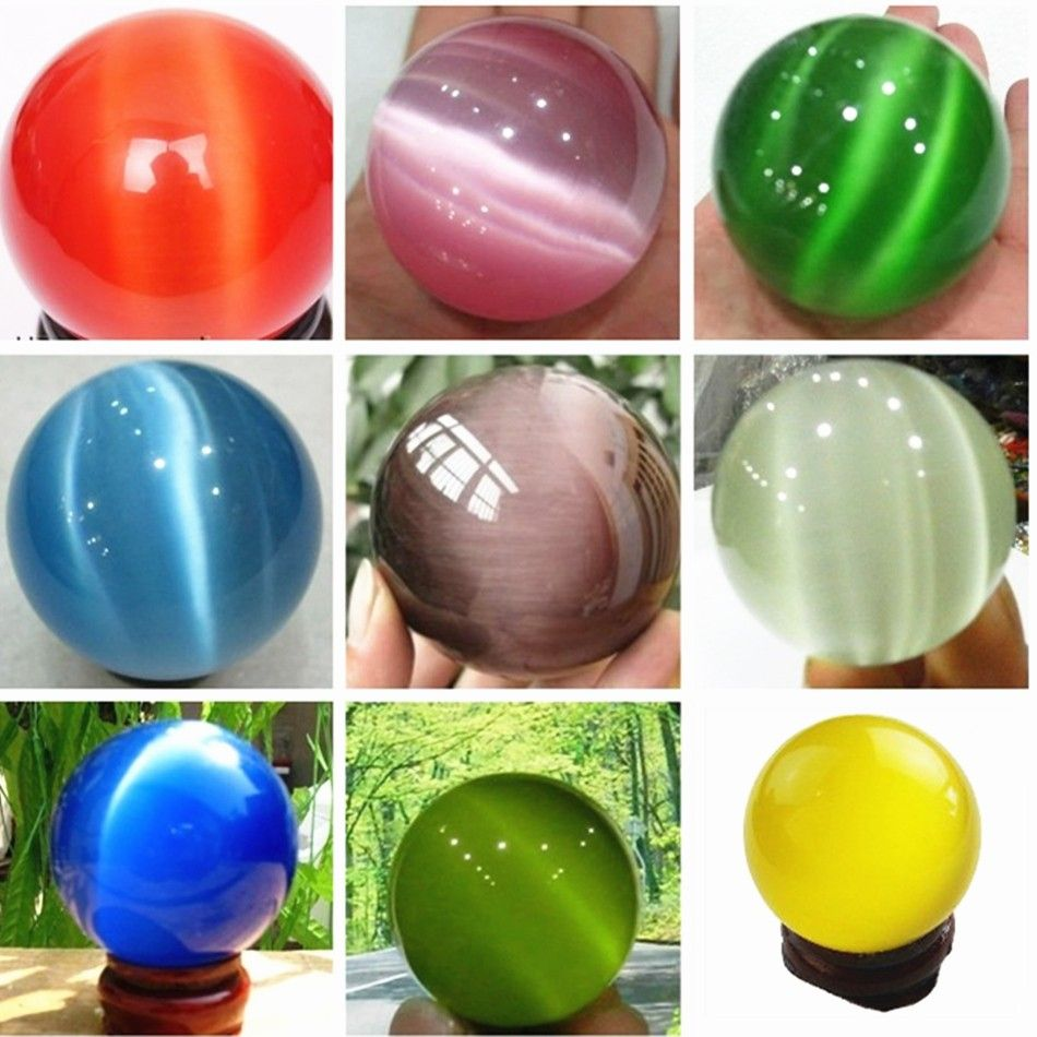 Multicolor mexican opal sphere crystal glass lovely round ball cat eyes hot sale accessories beads jewelry making MY3000