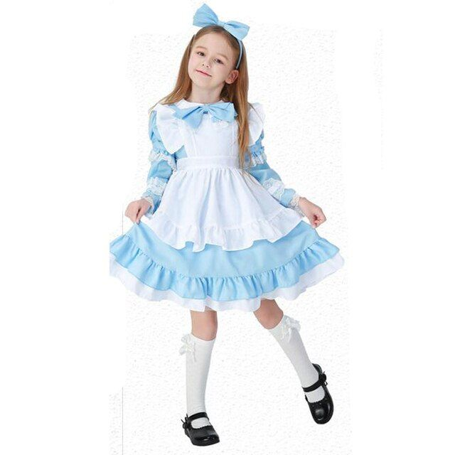 Yuerlian Kids Alice Halloween Costume Cosplay Maid Women Girls Princess Dress Roleplay Party Cosplay Game Stage Uniform 2017 Hot