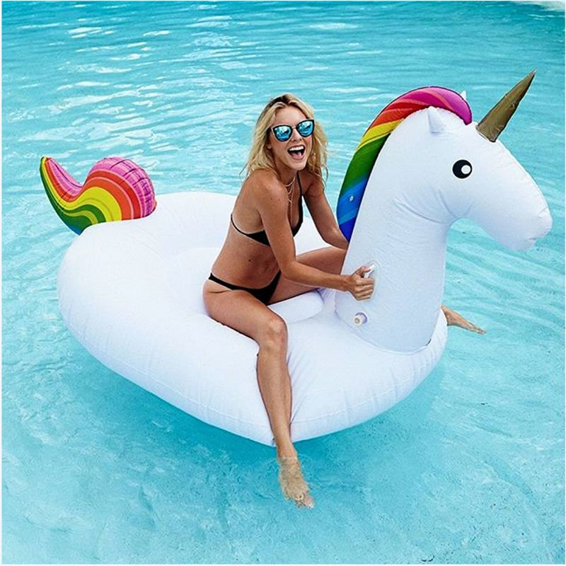 Summer Holiday Inflatable Pool Toy 2.7*1.4*1.2M White Inflatable Unicorn Pegasus Water Floats Raft Air Mattress PF005