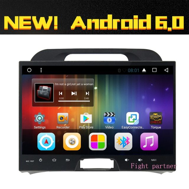 Free shippping Android Car Dvd For KIA sportage 2011 2012 2013 2014 2015 10.2 inch  1024*600 Quad Core Wifi Radio RDS BT