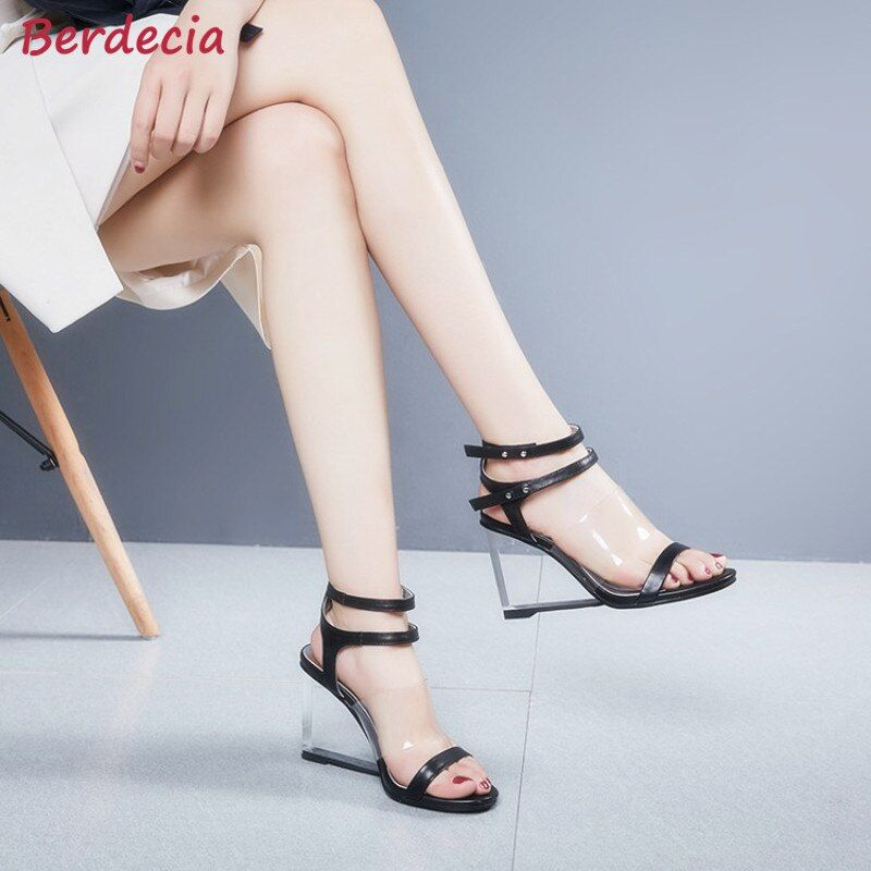 Berdecia Transparent High Heels Wedges Shoes Woman 2017 Summer New Rome Style Gladiator Sandals Slingback Sandalias Mujer