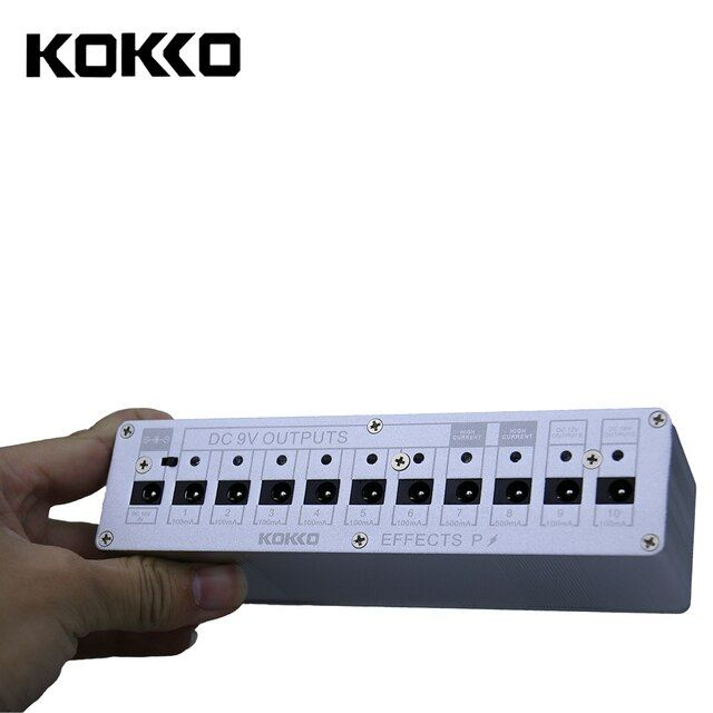 KOKKO Guitar Pedal Power Supply Compact 10ways Out 7ways 9V100ma DC 9V/10V/18V Safety Voltage Protection