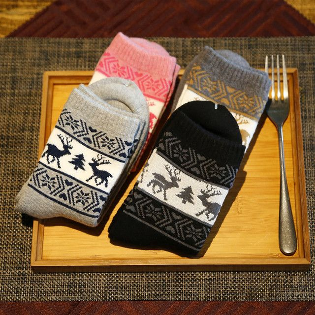 20Pairs/Lot Winter new women socks cotton towel socks thickening elk Christmas Hot source models