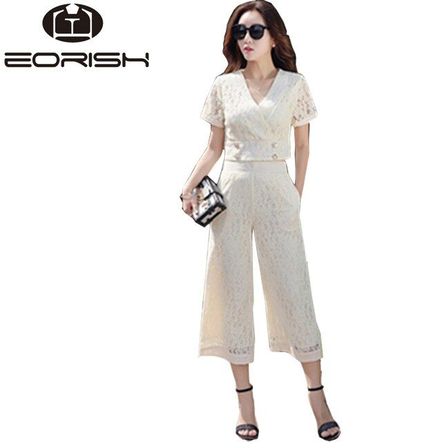 Summer Woman Sets of Clothes 2017 Elegant White Beige Lace Women's Suits Wide Legs Pants 2 Piece Set Size M to XL