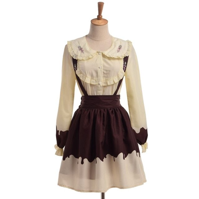 Lolita Cream Outfit Cute Fork Spoon Embroidery Blouse Shirt Suspender Jumper Skirt Set