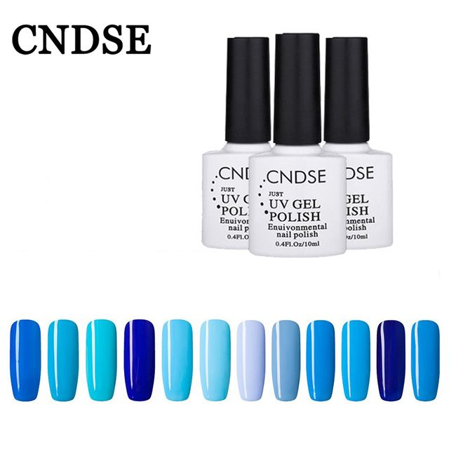 CNDSE10ML Gel Nail Polish Vernis Semi Permanent Uv Enamel Blue Series Nail Polish Gel Nails Total 12 Colors. Free Shipping Sexy