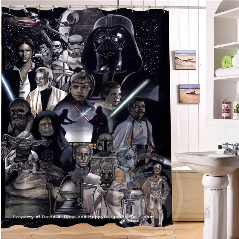 Custom Polyester Waterproof Fabric Fabric Bath Curtains Funny Star Wars Shower Curtain Bathroom decor waterproof shower curtain