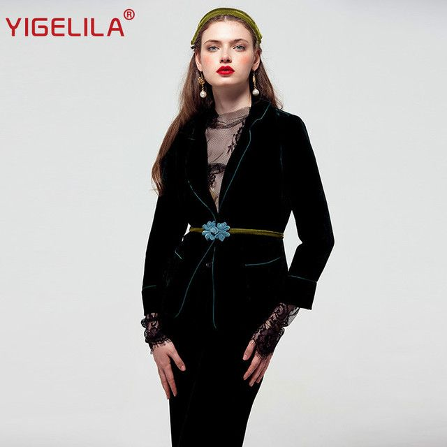 YIGELILA Brand 8184 Latest New Vintage Elegant Velvet Women Suits 3 Pieces Sets