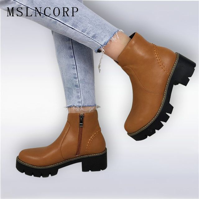 Fashion 2016 fashion autumn ankle boots pu leather shoes black Martin Boots Brand Dr Designer Motorcycle Boots Plus size 34-43
