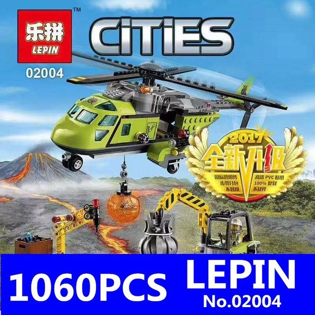 City Series LEPIN 02004 Helicopter Volcanic Expedition Building Blocks Bricks AssemblingToys for Children Gif Compatible 60123