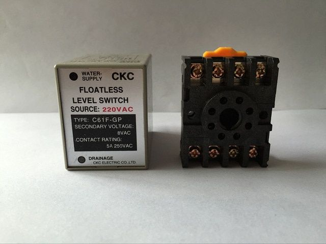 C61F-GP 220VAC floatless level switch / relay with socket / base C61F - GP water level controller / pump automatic switch