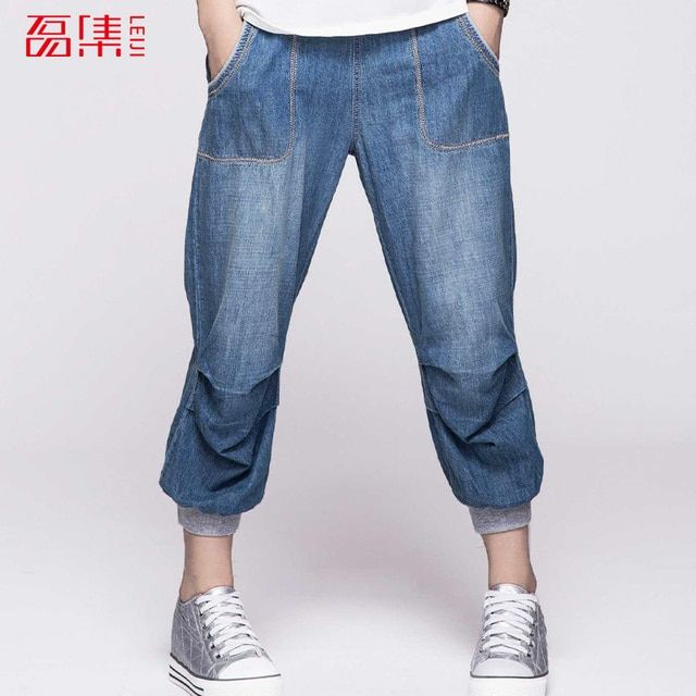 2017 New 40-120KG Plus Size Women Jeans Mid Waist Woman Harem Pants Summer Denim Jeans Pants Light Washed Loose Cotton Trousers