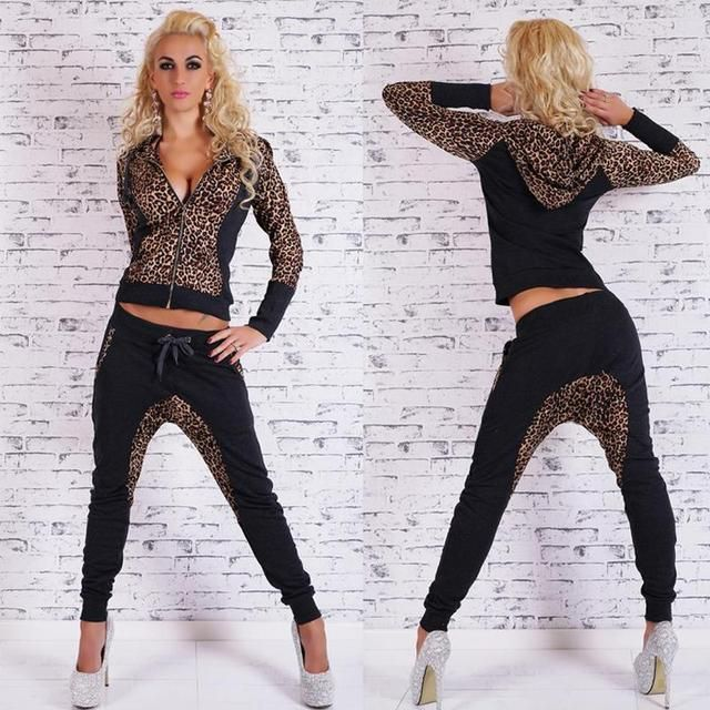 Women Tracksuit Autumn Winter Suit Fashion Women Leopard Tracksuits Sets Long Sleeve Sexy Tops + Pants 2 Pieces Set