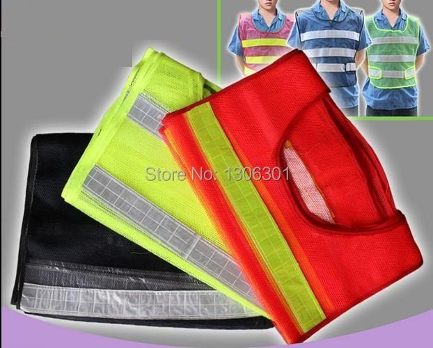 Mesh Reflective Safety Vest Adjustable Size Adhesive Fastener Tape