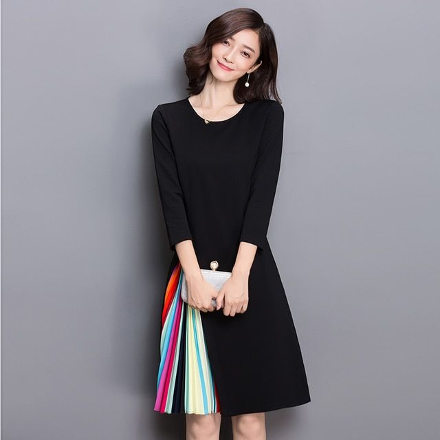 Autumn Spring Wear Women New Fashion O Neck Three Quarter Sleeve Pleated Vertical Stripes Patchwork Elegant Puff A Line Dress