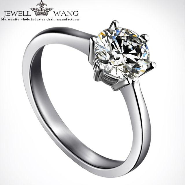 Jewellwang 18k White Gold Moissanites Rings For Women 1 Carat Certified Engagement 6 Prong Setting Shiny Wedding Ring Gift Real