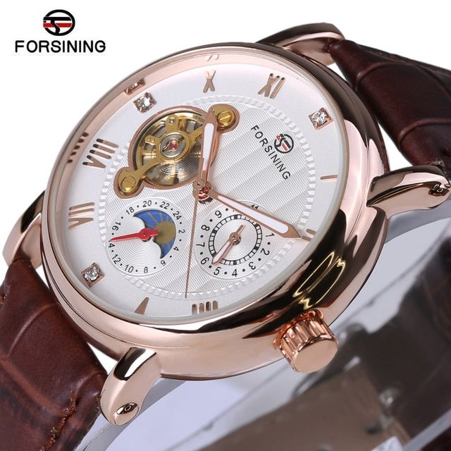Forsining Fashion Luxury Series Design Rose Golden Case Mens Watches Top Brand Luxury Tourbillion Diamond Display Automatic Watc