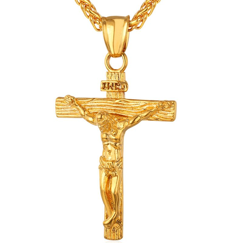 Kpop Cross Pendant Christian Jesus Religious Jewelry Stainless Steel Gold Color INRI Crucifix Cross Charm Necklace for Men P245