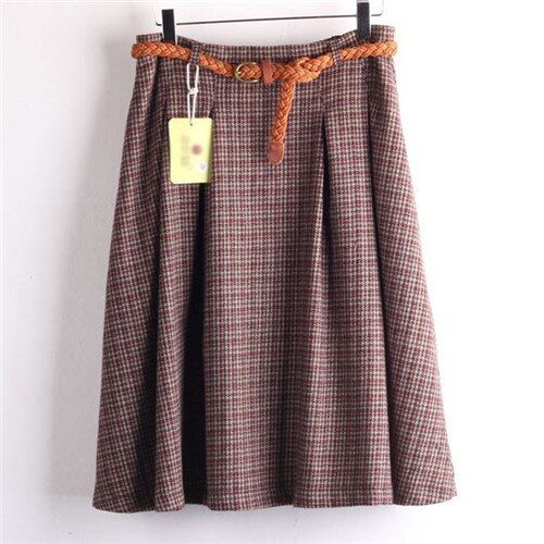 High Quality Women Skirts Wool Plaid Casual Elegant Midi High Waist Skirt Female Size M L XL Houndstooth Skirt With Belt