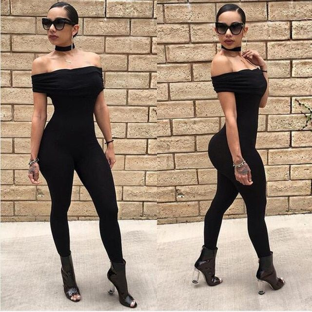 4 colors S-XL women off the shoulder bandage womens jumpsuits and rompers sexy club party streetwear bodycon jumpsuits TX132
