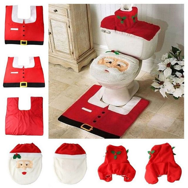 Santa Claus Toilet Seat Cover and Rug Bathroom Set Contour Rug Christmas Decorations for Home Papai Noel Navidad Decoracion